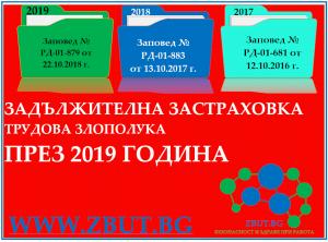 Заповед № РД-01-879 от 22 октомври 2018 г. за определяне коефициент на трудов травматизъм за прилагане през 2019 г.